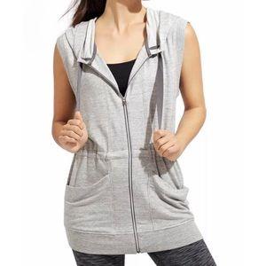 Athleta Gray Hoodie Zip Up Vest